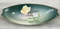 Vintage Hutschenreuther Handpainted Yellow Rose Bread Plate Selb Bavaria 12-1/2