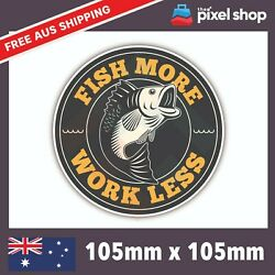 Fish More Work Less Sticker Fish Tackle Skull Boat Car Window Decal 4x4 Jdm 4wd