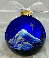 Silent Night Handpainted Christmas Ornaments 3 1/4 Inch Glass Ball.