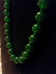 Old Chinese Green Natural Jade Large 10mm Bead Necklace Translucent Color/aaa.
