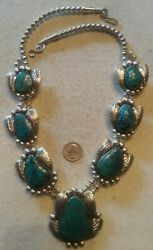 Navajo Squash Blossom Necklace Sterling Smoky Bisbee Turquoise Gigantic 275g 29