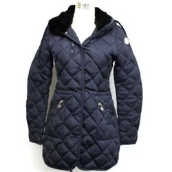 Moncler Ronce Quilted Down Coat With Fur Hood Navy