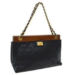 Quilted Chain Hand Bag 8081029 Black Caviar Skin Leather Ak34166b