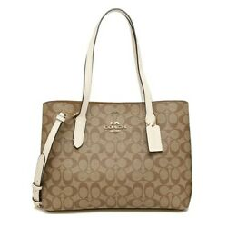 NWT COACH Avenue Carryall Crossbody Canvas Monogram Logo Chalk White Gold 48735 $162.00