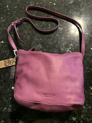 American Leather Co Dayton Crossbody Soft Leather Plum Smooth Gorgeous Nwt 145