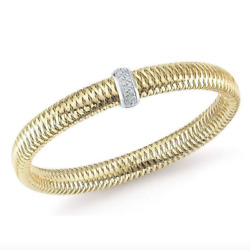 Roberto Coin 18k Yellow Gold Flexible Bangle With Diamonds New And Authentic
