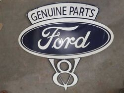 Porcelain Genuine Ford Parts Sign Size 35.5 X 37 Inches Double Sided Pre-owned