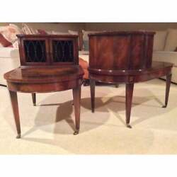 Antique Weiman Empire Neo-classical Flame Burl Mahogany End Tables Night Stands
