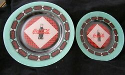 Set Of 2 Retro Coca-cola Coke Clear Glass Plates 9-3/4 Dinner And 7-1/2cake 1999