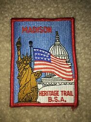 Boy Scout Bsa Madison Wisconsin Heritage Flag Statue Of Liberty Trail Patch