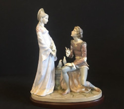 Lladro 1434 Vows Lancelot And Guinevere Porcelain Figurine With Wood Base