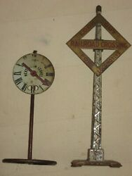 2 Vintage Pre War Crossing - Look Out For Locomotive And Next Stop Railroad Signs