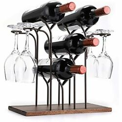 Hipiwe Countertop Wine Rack With Glass Holder - Wood Tabletop Metal Bottle And 4