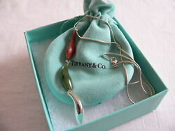 And Co Silver Gehry Fish Jade Wood Triple Dangle Necklace Pendant Gift Art