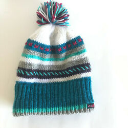 Oakley White Blue red Striped Beanie Hat Cap Plush Pom Adult $15.00