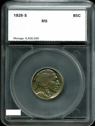 1928-s 5c Buffalo Nickel In Choice Uncirculated Condition 7211