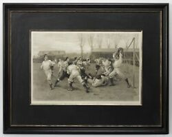 Antique 1891 Football Match And Association Game Photogravure, After W.h.overend