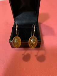 Antique Sterling Silver Hook Earrings With Genuine Amber Marked 925 Beautiful