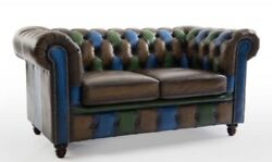 Tri Coloured Leather Chesterfield Sofa Vintage Style Chair Duke
