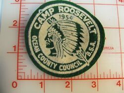 1954 Camp Roosevelt Green Felt White Screen Printing Ocean County Patch Rn
