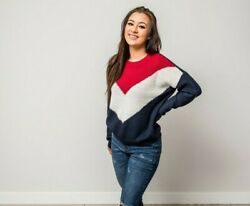 Women Sweater Jumper Pullover Knit Long Sleeve Knitted Chevron Ladies Top USA $19.99