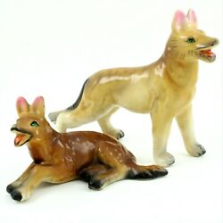 Vintage Pair Of German Shepard Porcelain Dog Figurines Made In China Handpalnted