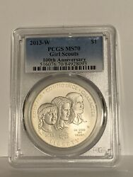 2013-w Girl Scouts Silver Commemorative Dollar Ms70 Pcgs Mint State
