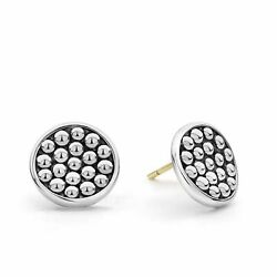 Lagos Sterling Silver Earrings Caviar Bold Button Omega Clip New