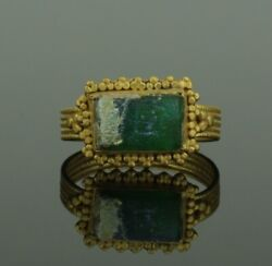 Ancient Roman Gold Ring With Green Glass Stone - 2nd Century Ad 090