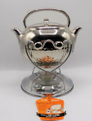 RARE Hall China quot;Tip the Potquot; Silver Luster Teapot Chrome Holder Original Tag
