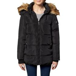 Madden Girl Womens Black Faux Fur Quilted Puffer Coat Outerwear M Bhfo 9591