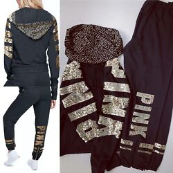 Victoria's Secret Pink Bling Hoodie+pants Grey/gold Sequin Large L/small S New