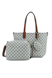 Checkered Tote Shoulder Crossbody Bag Hobo Purses and Handbags with inner pouch $85.49