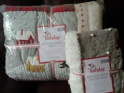 S2 Pottery Barn Kids Heritage Santa Quilt Euro Sham Twin Christmas Sold Out