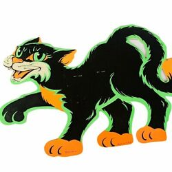 Halloween Decoration Vtg Beistle 1960s Wall Hang Sign Black Cat Witch Jointed H2