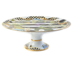 Mackenzie Childs Thistle And Bee Courtly Check Ribbon Cake Stand New Retail 375