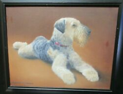 Patricia Greenwood Welsh Terrier Dog Original Oil On Canvas Painting