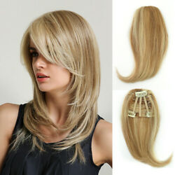 100 Human Thick Side Hair Fringe Bang Clip In Hair Extensions Natural Straight