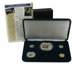 1996 Cook Islands National Park Yellowstone Grizzly Bear Gold And Silver Set