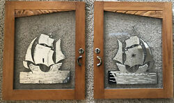 Pair Antique Mercury Glass Panels Of Sailing Ships In Fruitwood Frames