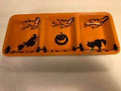 Halloween Ceramic Tray Serving Dish By Sur La Table 14 X 6 Witch Pumpkin And Cat