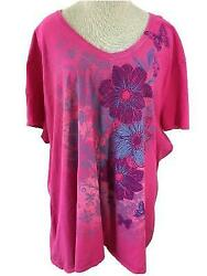 JMS knit top Size 5X short sleeve cotton pink butterfly t shirt style V neck $12.99