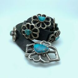 Vintage Sterling And Turquoise Handmade Sandcast Concho Leather Belt 39 Sj15