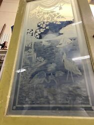 Etched Glass Parlor Door With Sailboats And Loons In The Sunset 94x29