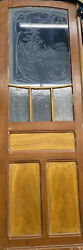 Etched Glass Parlor Door With Flowers And Textured Glass 90x30