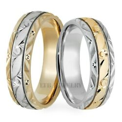 18k White And Yellow Gold Hand Engraved Wedding Rings, Two Tone Gold Wedding Bands