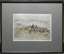 Tom Carr English 1912-77 Exquisite Original Etching The Fox Hunt On The Hill