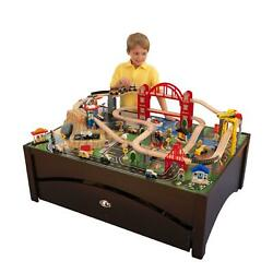 Train Table Set Wooden Metropolis 100 Accessories Toy Railway Play Gift New