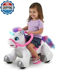 Girls Ride On Toy Unicorn With Sound Toddler 6-volt Battery Powered Push-button