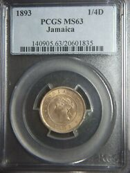 1893 Jamaica Farthing Pcgs Ms63 Nice Coin